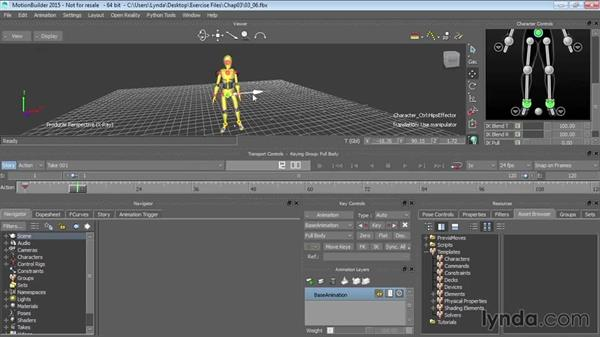 Animating characters via control rigs: Up and Running with MotionBuilder