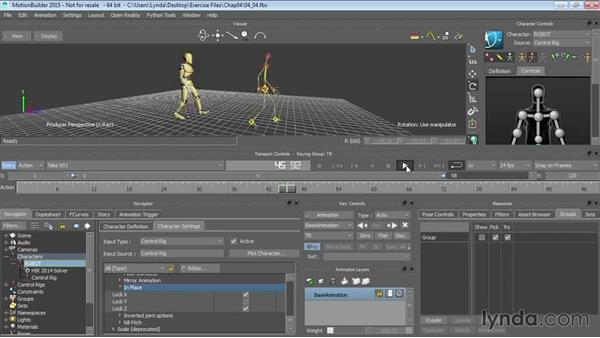Cycling motion data: Walking in place: Up and Running with MotionBuilder