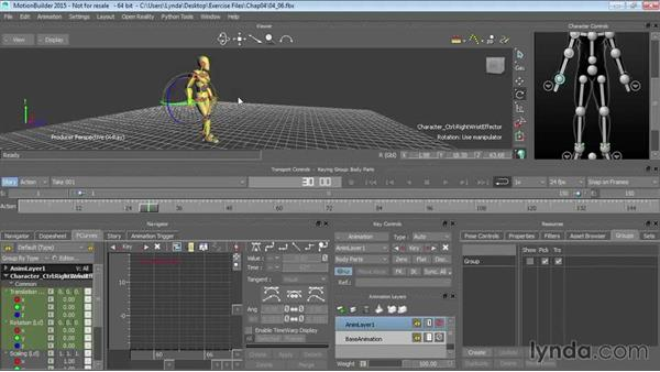 Cycling motion data: Editing cycled data: Up and Running with MotionBuilder