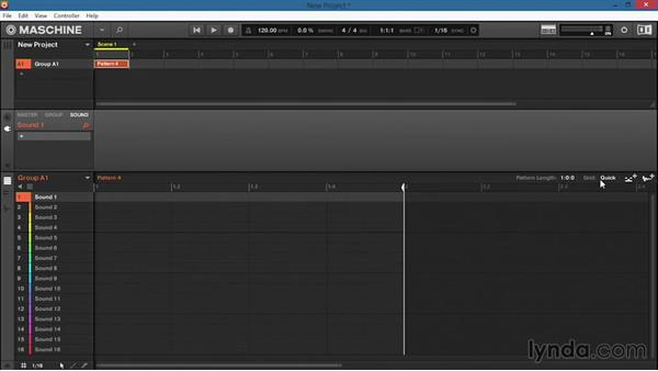 Starting a new pattern and setting the pattern length and grid resolution: Up and Running with Maschine 2