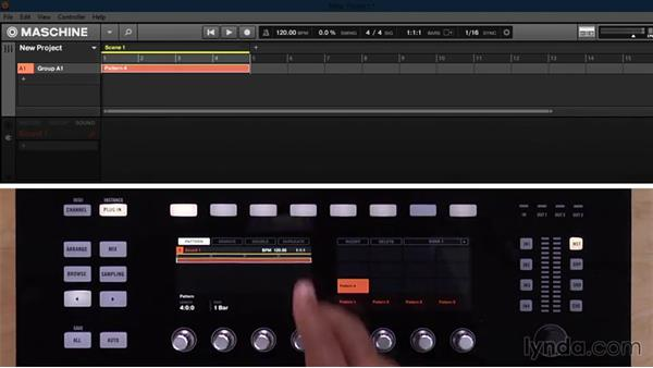 Starting a new pattern and setting length and grid resolution from the Studio hardware controller: Up and Running with Maschine 2
