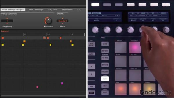 Editing pattern events from the Maschine controller: Up and Running with Maschine 2
