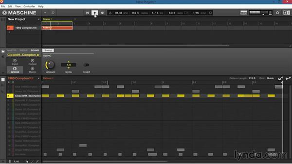 How to add swing using the Groove section: Up and Running with Maschine 2