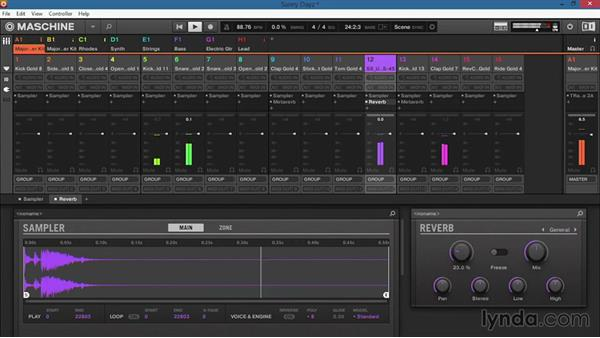 Adding effects to the sound, group, and master channels: Up and Running with Maschine 2