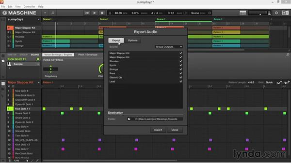 Exporting your finished song as a stereo WAV file or individual WAV samples: Up and Running with Maschine 2