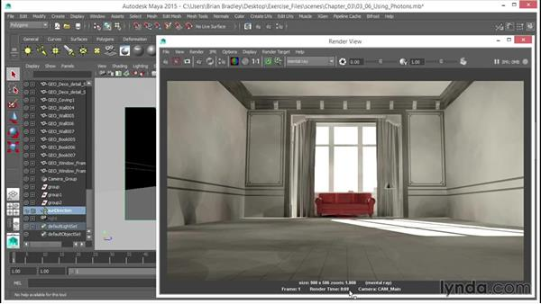 Using (GI) photons: Part one: Up and Running with mental ray in Maya