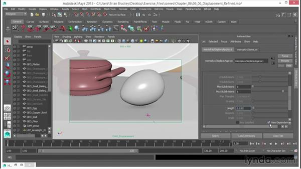 Refining the displacement effect: Up and Running with mental ray in Maya