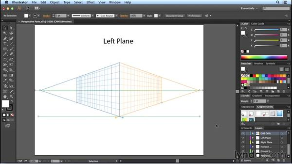 The parts of the Perspective Grid: Perspective Drawing with Illustrator