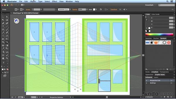 Attaching objects: Perspective Drawing with Illustrator
