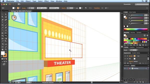 Scaling objects: Perspective Drawing with Illustrator