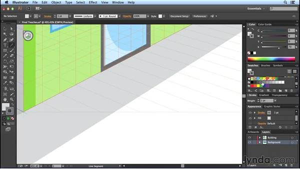 Adding finishing touches to the perspective drawing: Perspective Drawing with Illustrator