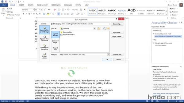 Making hyperlinks accessible: Creating Accessible Microsoft Office Documents