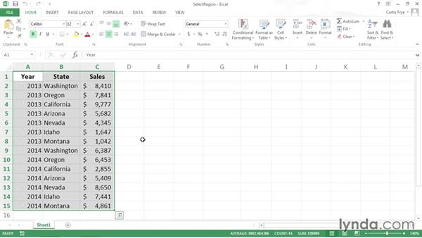 Selecting the current region: Excel VBA: Managing Files and Data