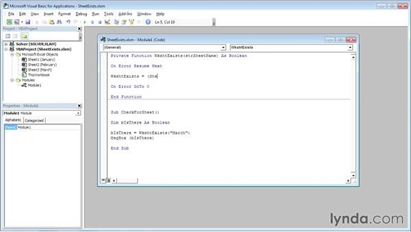 Checking if a worksheet exists: Excel VBA: Managing Files and Data