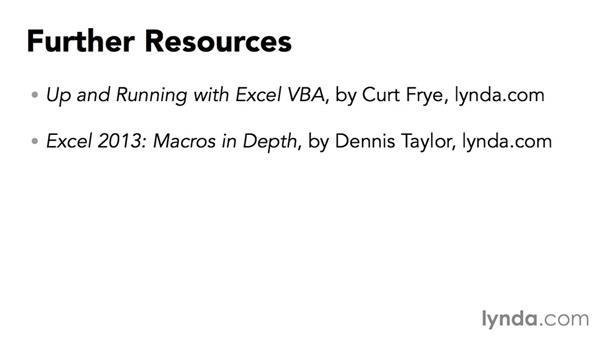 Further resources: Excel VBA: Managing Files and Data