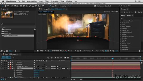 Create long, tall shadows: After Effects Guru: Integrating Type into Video