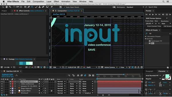 Design the text and add logo elements: After Effects Guru: Integrating Type into Video