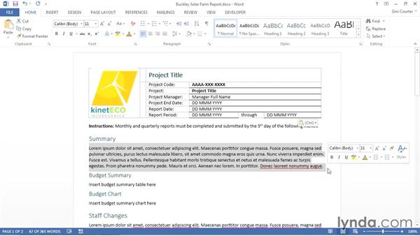 Converting an existing document to a template: Word 2013: Templates in Depth