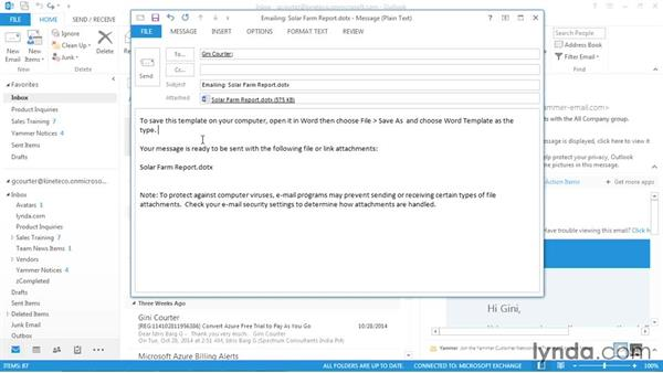 Distributing templates with email: Word 2013: Templates in Depth