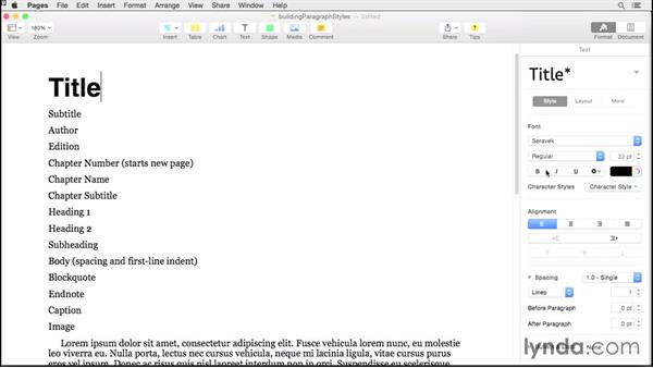 Building paragraph styles: Creating EPUBs from a Pages Document