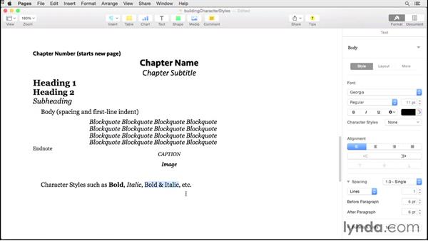 Building character styles: Creating EPUBs from a Pages Document