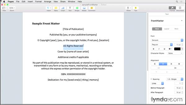Incorporating front matter: Creating EPUBs from a Pages Document