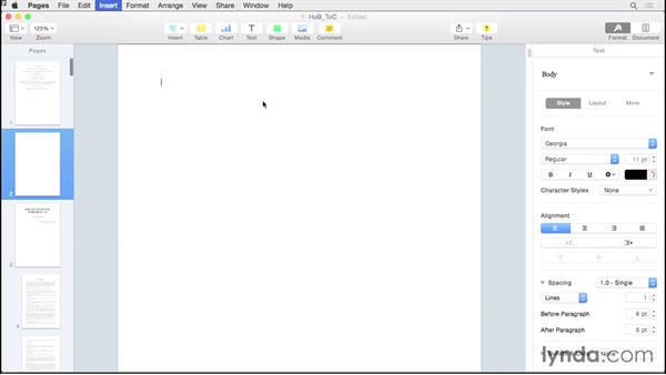Adding a table of contents: Creating EPUBs from a Pages Document
