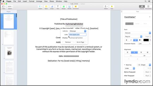 Adding hyperlinks: Creating EPUBs from a Pages Document