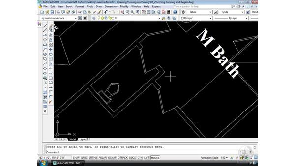 Zooming, panning, and regen: AutoCAD 2008 Essential Training