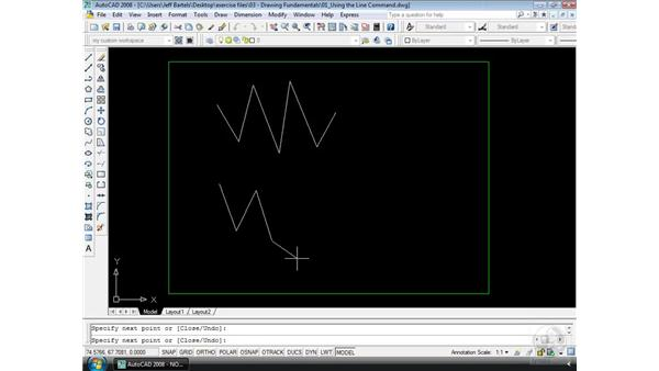 The Line command: AutoCAD 2008 Essential Training