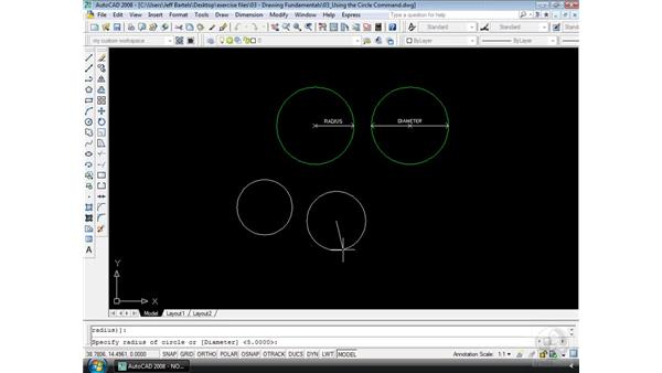 The Circle command: AutoCAD 2008 Essential Training