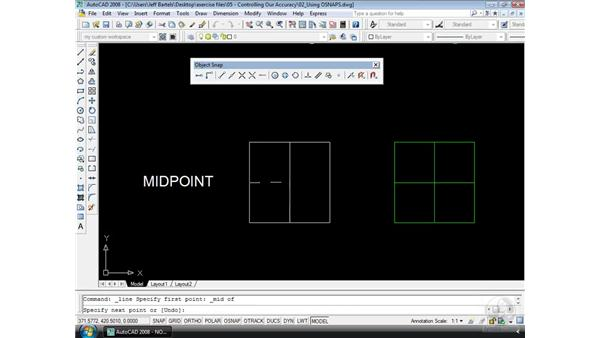 Object snaps: AutoCAD 2008 Essential Training