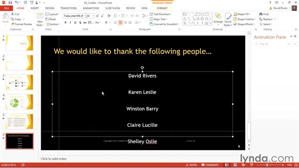 Displaying a list of rolling credits in PowerPoint: Weekly Office Workshop