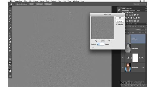 Apply high-pass sharpening: Black-and-White Project: Using High-Dynamic Range (HDR) Toning for an Edgy Look