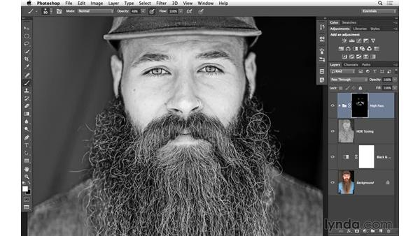 Masking in the high-pass sharpening: Black-and-White Project: Using High-Dynamic Range (HDR) Toning for an Edgy Look
