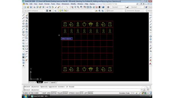 Removing from selections: AutoCAD 2008 Essential Training