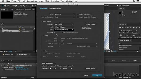 How to render with an alpha channel: After Effects Tips and Techniques: Rendering and Exporting