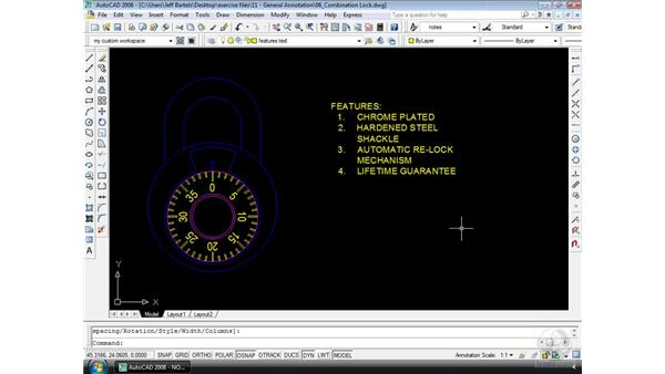 Bulleted and numbered lists: AutoCAD 2008 Essential Training
