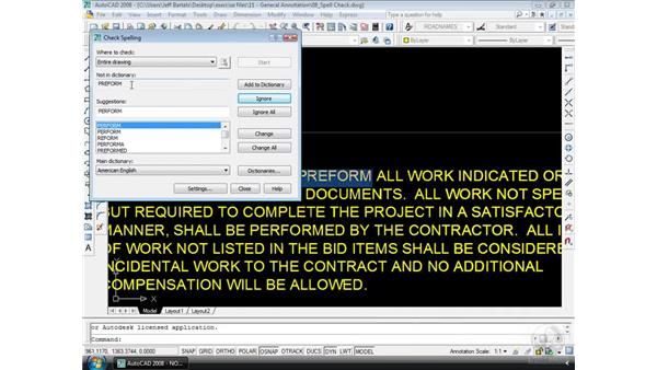 Spell-checking: AutoCAD 2008 Essential Training