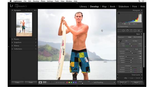 Making final adjustments in the Basic panel: Portrait Project: Lighting a Portrait with Lightroom