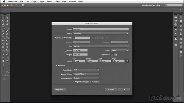 Creating documents for web projects: Illustrator CC for Web Design: Core Concepts