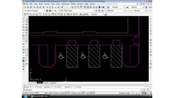 The Distance command: AutoCAD 2008 Essential Training