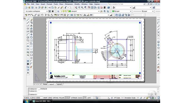 Layouts pt. 3: Cutting a viewport: AutoCAD 2008 Essential Training
