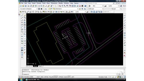 Sizing linetypes: AutoCAD 2008 Essential Training