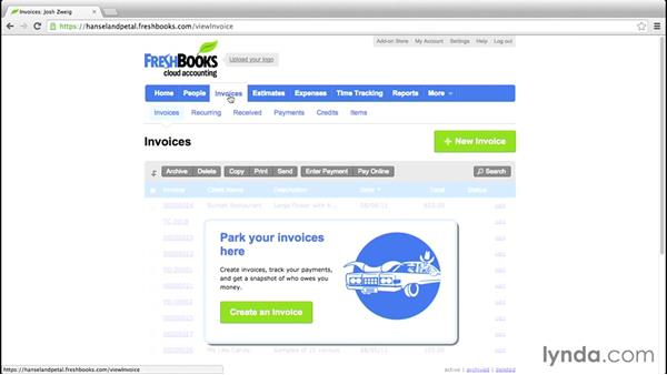 A tour of the interface: FreshBooks Essential Training