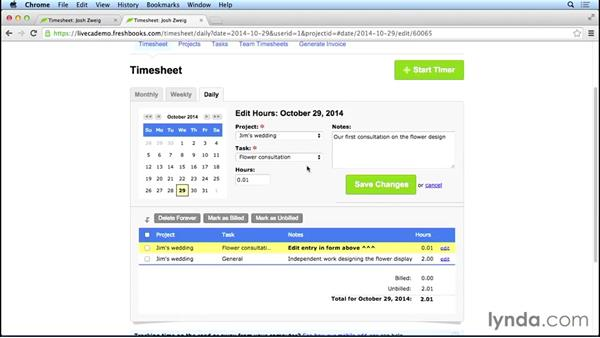 Logging time: FreshBooks Essential Training