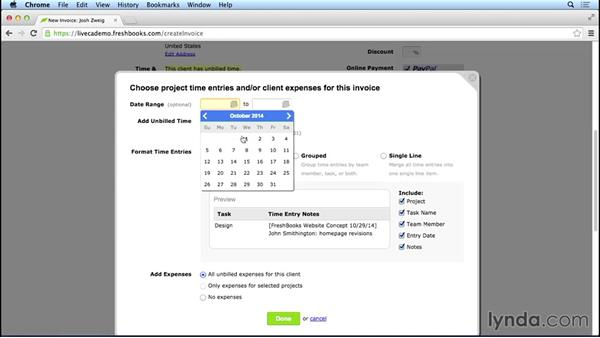 Setting up a new invoice: FreshBooks Essential Training