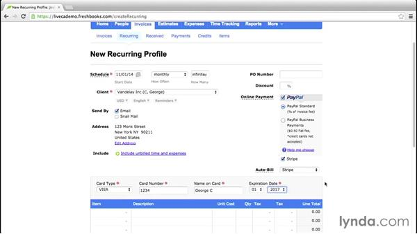 Adding recurring invoices: FreshBooks Essential Training