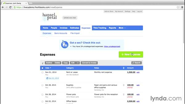 Adding an expense: FreshBooks Essential Training