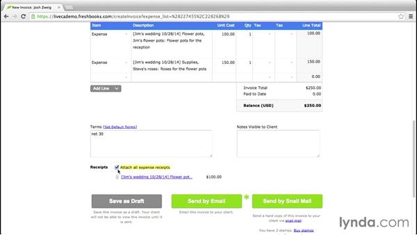 Assigning expenses to invoices: FreshBooks Essential Training